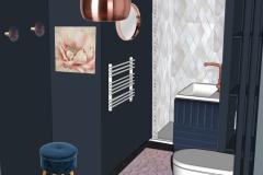 3D Salle de douche Paris 10   /     Ambiance cabinet de curiausité vue 2